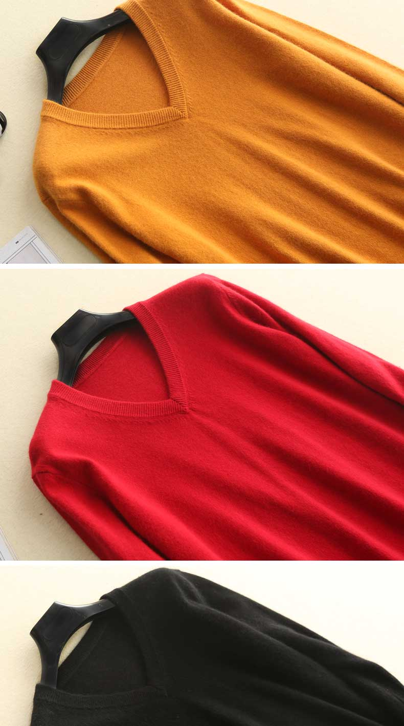 Men Sweaters V-Neck 100% Cashmere-Wool Knitted