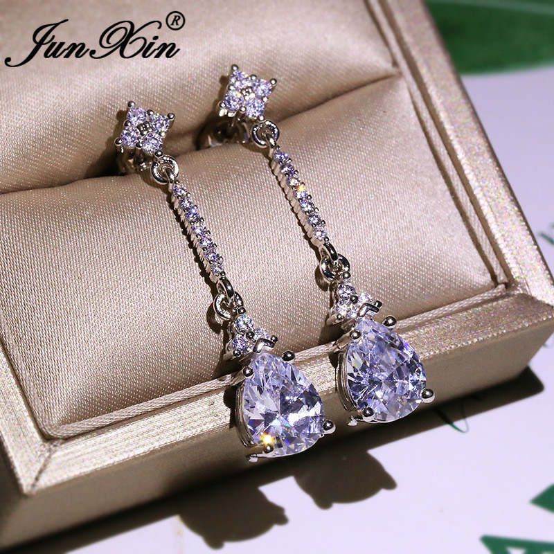 Luxury Pear Cut Crystal Long Chain Dangle Earrings For Women Silver Color White Zircon Water Drop Earrings Wedding Jewelry