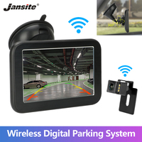 Jansite reverse camera 5 inch rear view camera Digital Wireless Backup Camera with monitor car monitor Parking System 12-24V