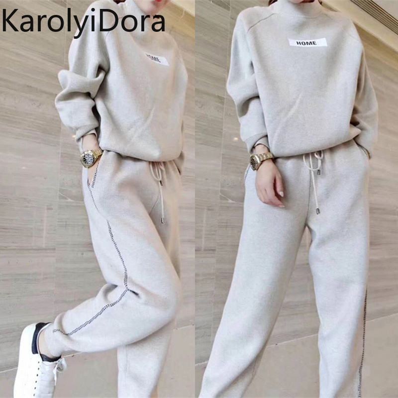 Women's Sets 2019 Autumn And Winter Wool And Velvet Knitted Warm Clothing O-neck Sweater + Harem Pants Loose Style Two-piece