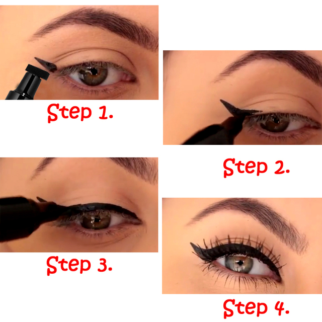 Double-Headed Seal Black Eyeliner 2 in 1 Liquid Triangle Seal Eyeliner Waterproof Eye Liner Pencil Stamp Eyeliner Pen Eye Makeup 3