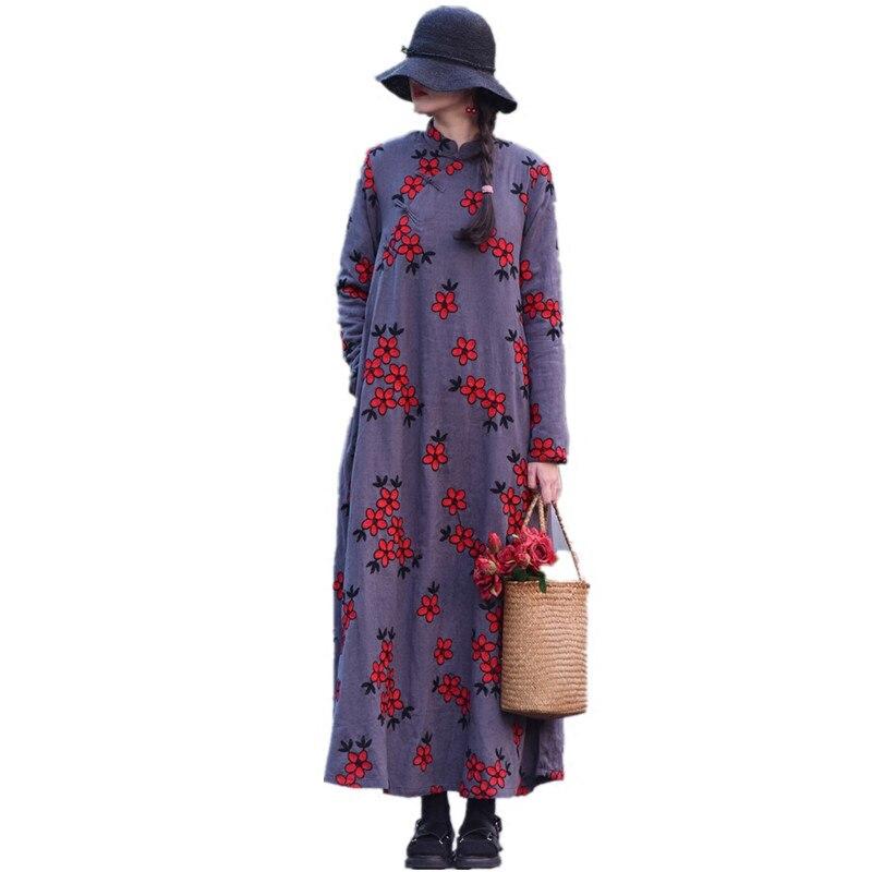 Бесплатная доставка, новинка 2019, китайский стиль, хлопок, длинное, макси, женское, с длинным рукавом, свободное платье, вышивка, зимнее, плотн... - 3
