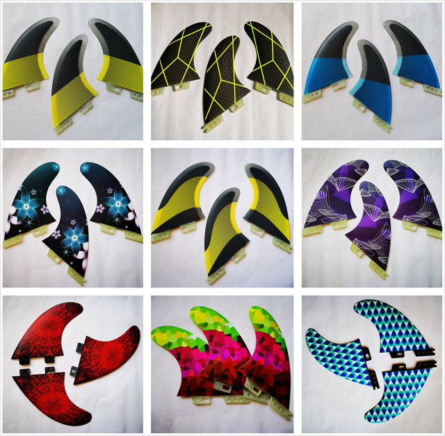 Colorful Surfboard Fin green orange Thruster Future FCS1 II Surf fins G5 M carbon Fiberglass Surfing Accessoire