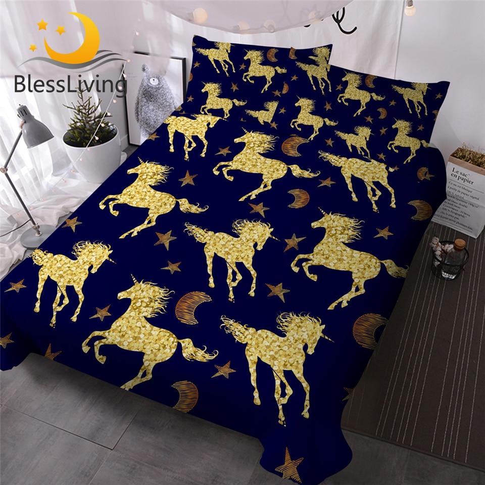 BlessLiving Golden Unicorn Bedding Set Starry Sky Horse Duvet Cover Luxury Bed Set Stars Moon Kids Soft Bedclothes 3pcs Dropship