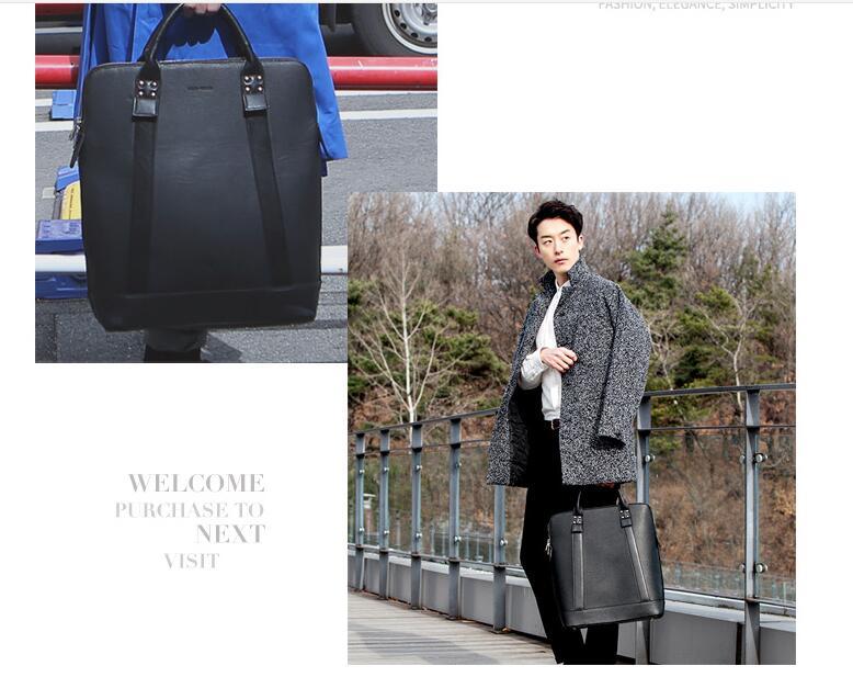 Кожаная НАПЛЕЧНАЯ модная деловая сумка для отдыха, деловой мужской портфель, Большой Вместительный pu портативный рюкзак, портфель для