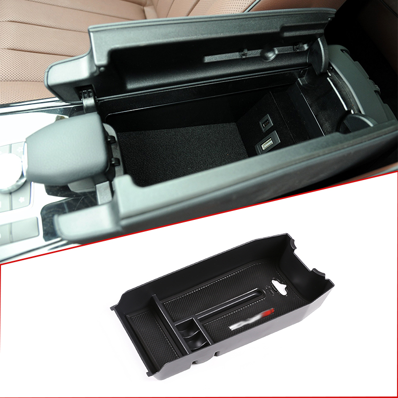 For Mercedes Benz E Class W212 2012-2015 Console Central Armrest Storage Box Multi-function Boxes Car Accessoriy  With AMG  Logo