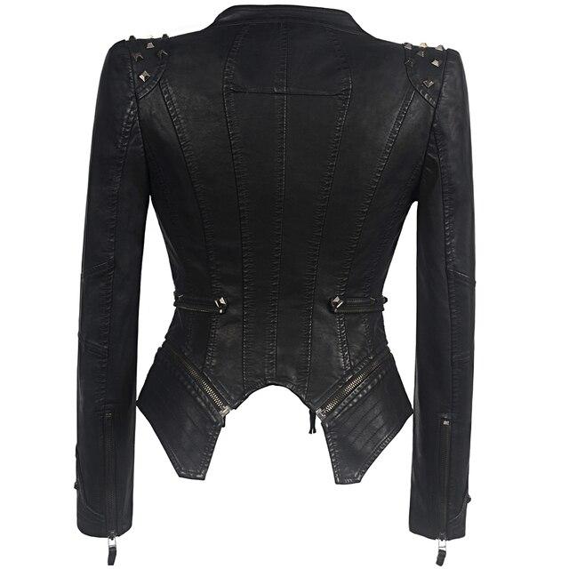 Vestes en Faux cuir femme manches longues, moto lisse, automne hiver motard Streetwear noir et rose manteau 2