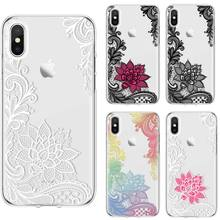 Ultra Thin Lace Flower Phone Case Painted Clear Soft TPU Silicone Protective Back Cover Skin for Huawei Honor 8 7C 7A 6C 8C 10i s line wave back skin ultra thin tpu protective case cover for iphone 5c