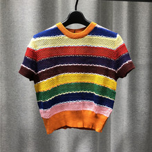 Women Sweater Autumn Style Multi Color Splicing Pure Wool Hollow Out Short Sleeve Crew Neck Knitted Pullover Threaded Collar Hem