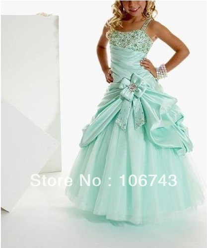 Free Shipping 2016 New Beading Beyonce Costume Girl Kids Pageant Dance Party Princess Ball Gown Vestidos Long Flower Girl Dress