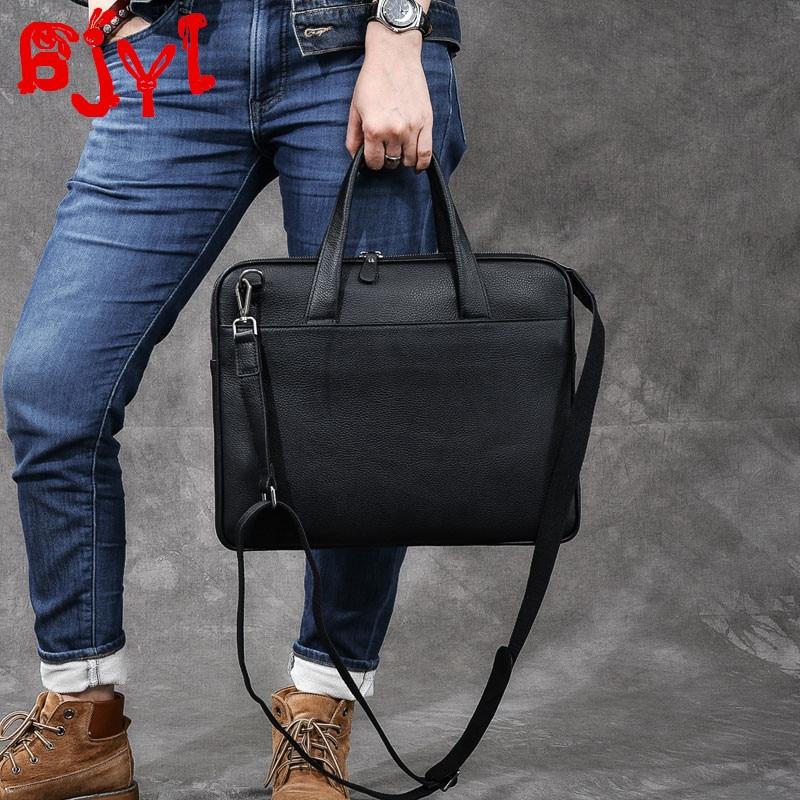 Genuine Leather Men's Handbags Cowhide Business Briefcase Shoulder Messenger Bag 14