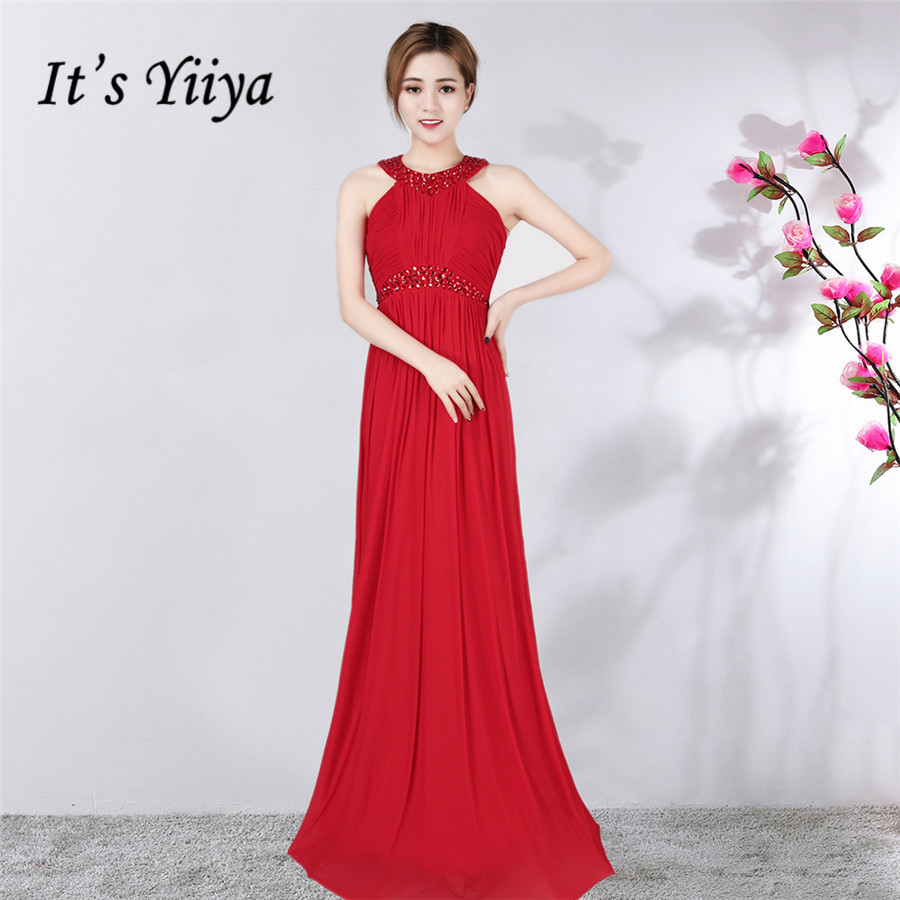 Evening Dress It's Yiiya DX358 Sleeveless Pleat Robe De Soiree Plus Size Floor-Length Halter Collar Special Occasion Dresses