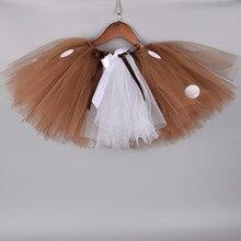 Костюм с оленем; юбка-пачка; детская фатиновая юбка для рождественской вечеринки; Рождественский костюм для девочек; коричневая юбка в горошек; реквизит для фотосессии новорожденных