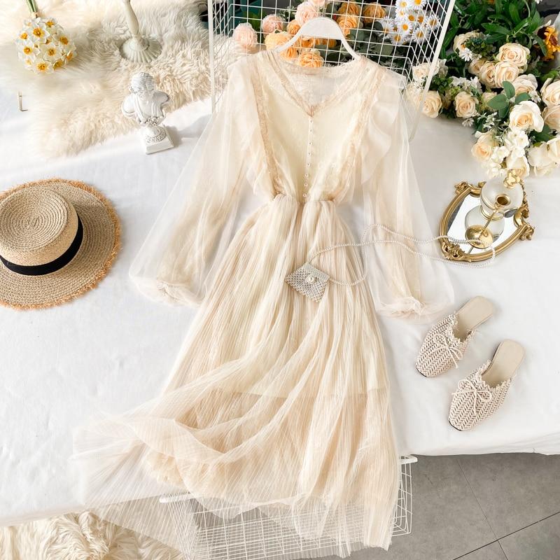 Women V Neck Sweet Nail Pearl Lace Long Lantern Sleeve Pleated Mesh Dress Lady Solid Color Elegant Vestidos L289
