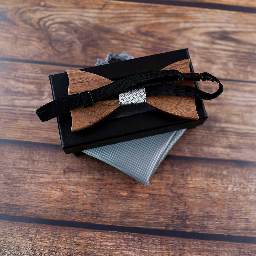 Yeni tasarım 3D ahşap kravat Pocekt kare kol düğmeleri moda ahşap papyon düğün dinne el yapımı corbata ahşap bağları Gravata seti