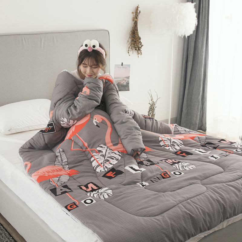 Winter Comforters Lazy Quilt with Sleeves Family Throw Blanket Hoodie Cape Cloak Nap Blanket Dormitory Mantle Covered Blanket 12