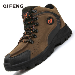 New Arrival Fashion Suede Leather Mens Snow Boots Winter Warm Plush Shoes Ankle Boots Outdoor Sports Hiking Footwear Size 39-47