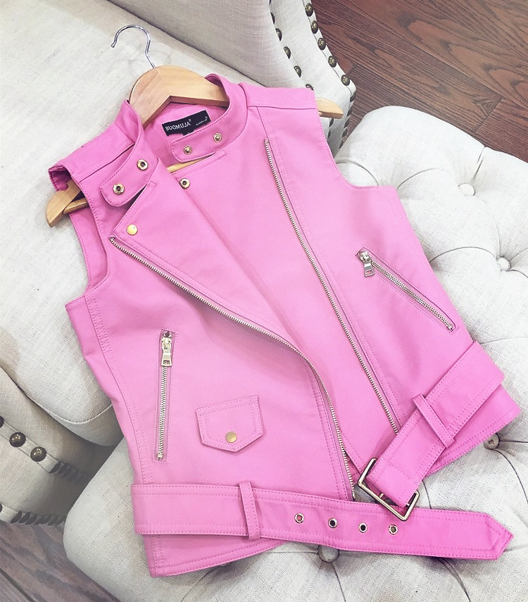 VANGULL Toddler Girls Zipper Pink Rivets Faux Leather Slim Short Jacket Punk Coat