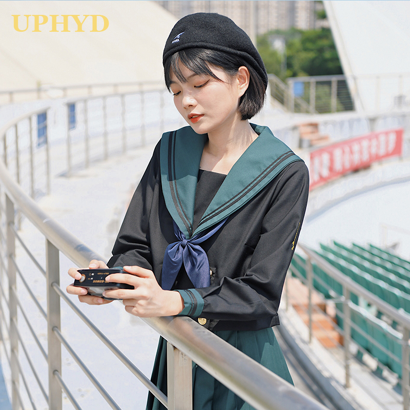 UPHYD Green School Uniform Girl Sets Sailor Tops+Tie+Skirt British College Navy Students Clothes