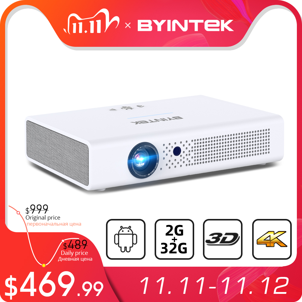 BYINTEK R19 300inch Full HD 1080P 3D 4K Smart Wifi Android Home Game LED DLP lAsEr Portable Mini Projector for Smartphone Tablet