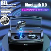 Jds414 bluetooth 5.0 tws fones de ouvido esporte música verdadeira sem fio mini fones estéreo fone à prova dheadágua headfrees 2600mah todo o telefone