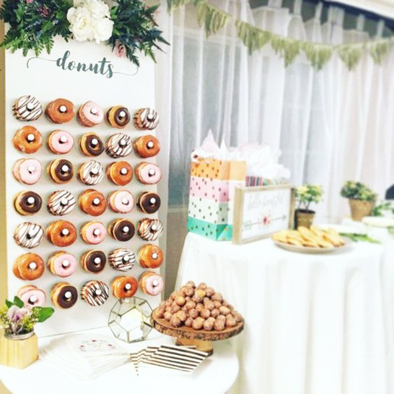 WEIGAO Wooden Donut Wall Stand Doughnut Holder Baby Shower Kid Birthday Party Decor Donut Party Decoration Wedding Event Party