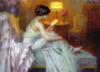 100% hand painted Handicrafts Repro oil painting: Young women Reading a love letter in Evening