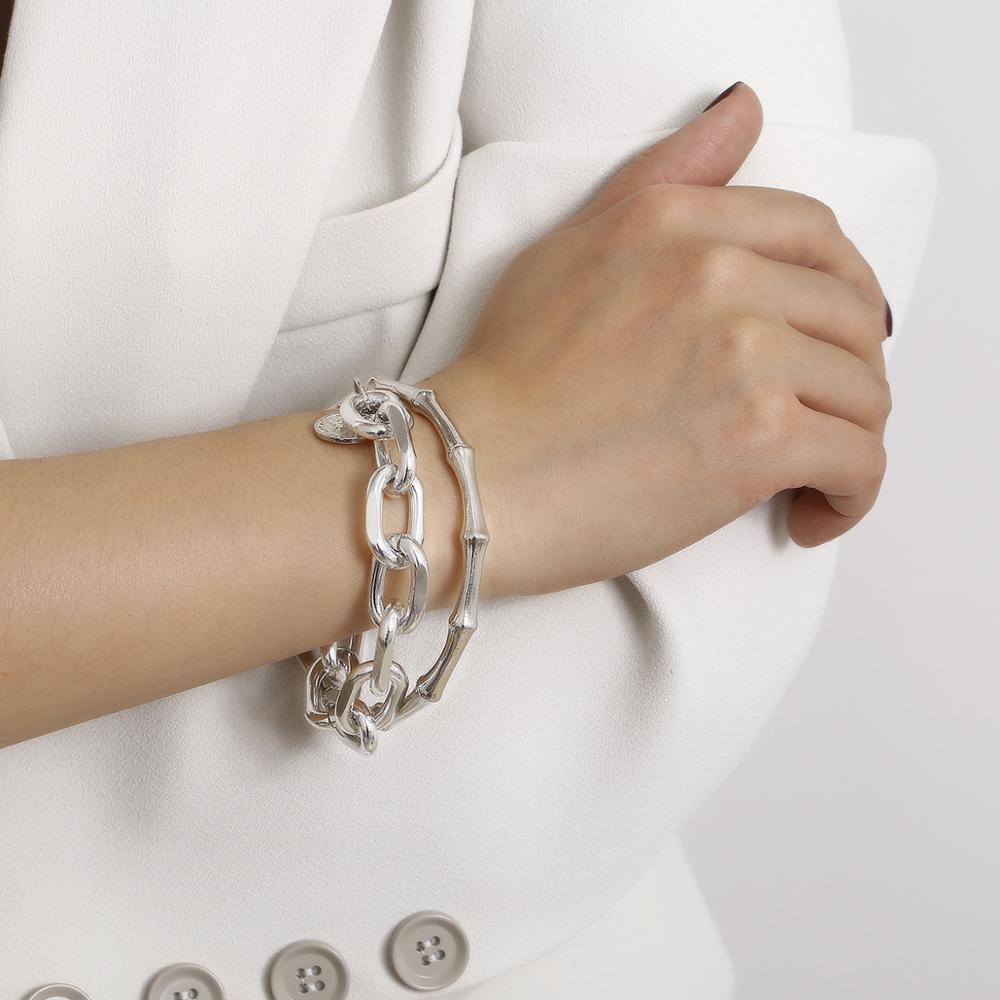 Модная серебряная металлическая цепочка KMVEXO, креативный женский браслет в стиле панк с монетами, Ювелирное Украшение в стиле бохо для вечер...