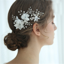 Lovely Bridal Hair Stick Women Jewelry Wedding Accessories Bridal Hair Clip Handmade Bride Headdress Women Flower Headpiece slbridal handmade crystal rhinestone pearls flower wedding hair clip barrettes bridal headpiece hair accessories women jewelry