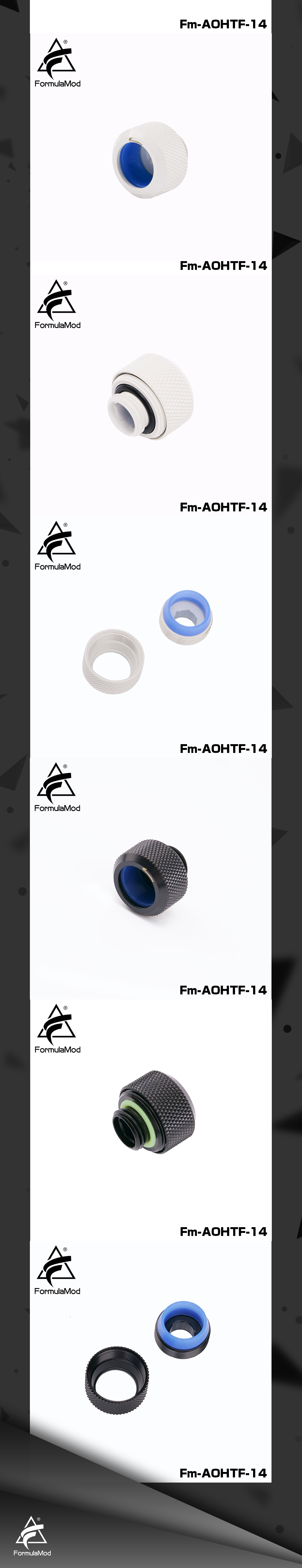 """Anti-Off Type Hard Tube Fitting Formulamod Non-Slip Silicone G1/4"""" For Od14mm Computer Case Water Cooling Copper component"""
