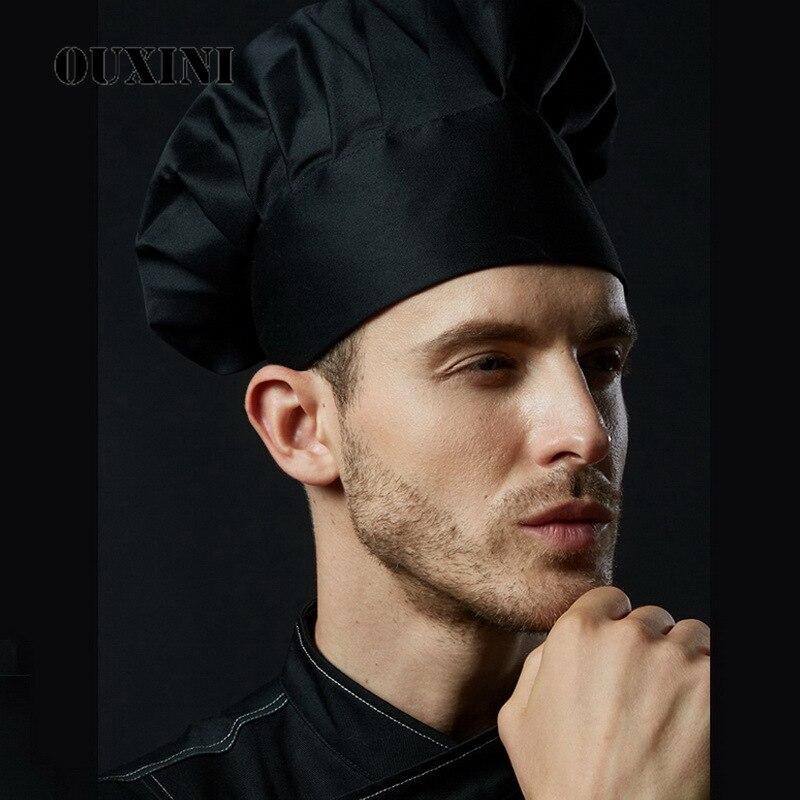Black Cooking Adjustable Chef Hat Men Kitchen Elastic Cap Catering  Striped Plain Hat Work Caps Restaurant Cook Working Hats