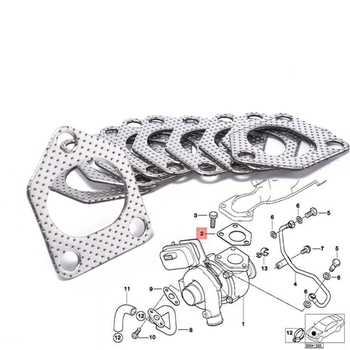 10Pcs/lot Aluminum Graphite Turbo Charger Gasket 11622244515 For BMW E36, E46, E39 EP-CGQ184S image