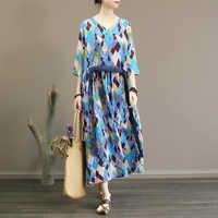 Original Da Arte Retro Impressão Geométrica Vestido Longo Pescoço Rendas das Mulheres Magro Grande Saia Vestido de Primavera e Verão