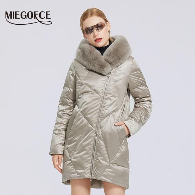 MIEGOFCE 2020 hiver nouveau manteau de coton pour femmes avec col de fourrure élégant Rex lapin longue veste hiver femmes Parkas coupe-vent veste