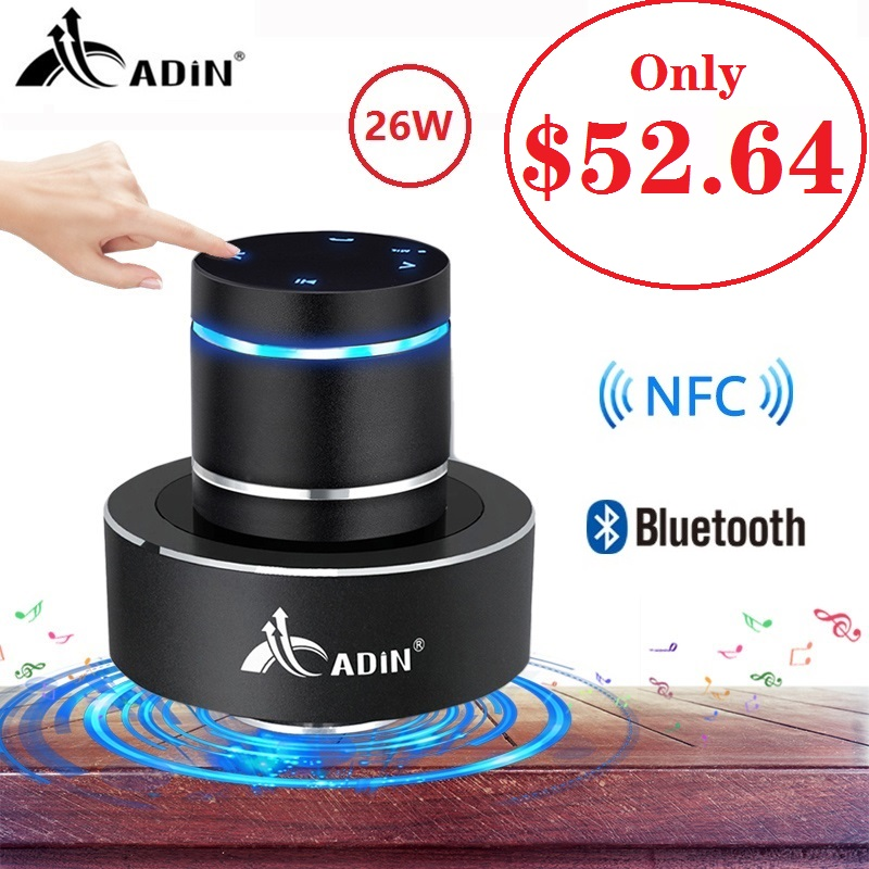 Adin 26W Vibration Speaker Bluetooth Bass Portable Speakers Wireless Resonance Touch Stereo Subwoofe NFC Handsfree With Mic