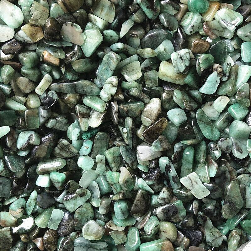 1//4lb Green Emerald Tumbled Natural Stone Crystal Healing Chakra Reiki 8-10mm