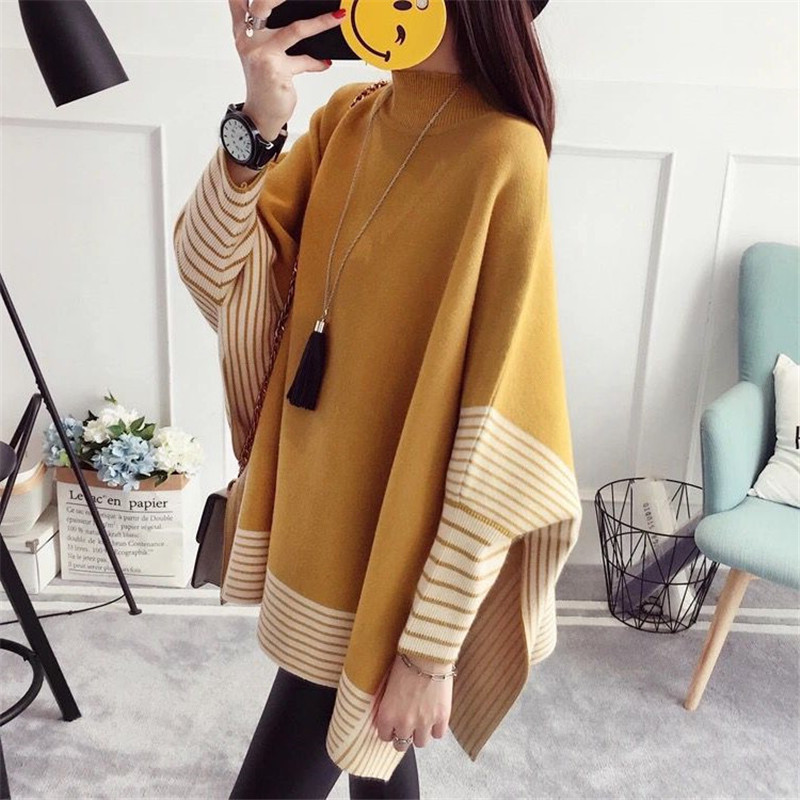 2019 Women Pullover Female Sweater Fashion Autumn Winter Plus Size Shawl Warm Casual Loose Knitted Tops