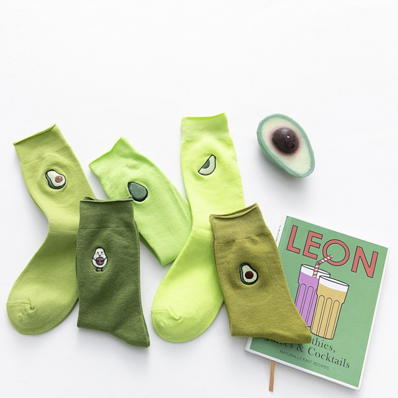 2020 New Fasahion Spring And Summer Women's Socks Cute Avacado Embroidery Green Set Socks Casual Socks Short Cotton Socks