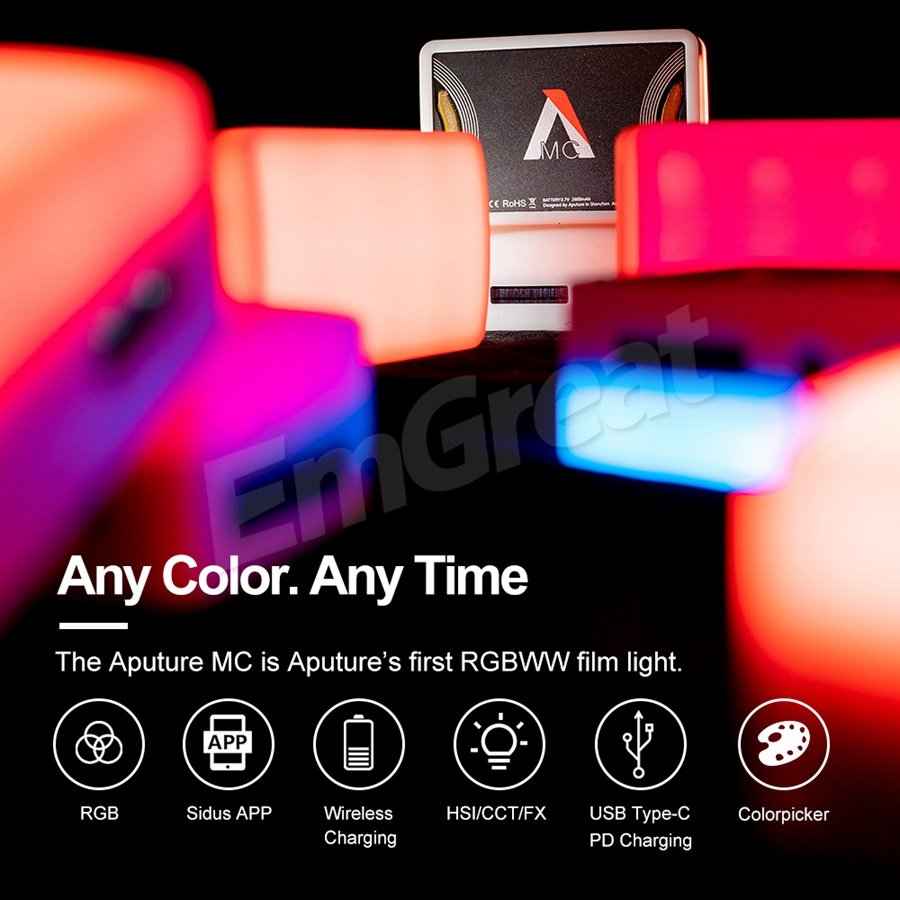 Aputure MC RGBWW Led Light 3200K-6500K,CRI//TLCI 96+,HSI Mode,Support App with USB-C PD and Wireless Charging Bundle with Silicone Rubber Diffuser 4 Items Carrying Bag USB Type-C Charging Cable