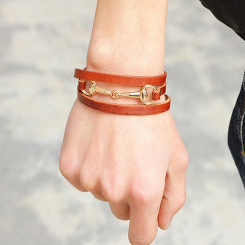 Multi-Layered Manual Weaving 3 Circles Winding Alloy Woman Bracelet