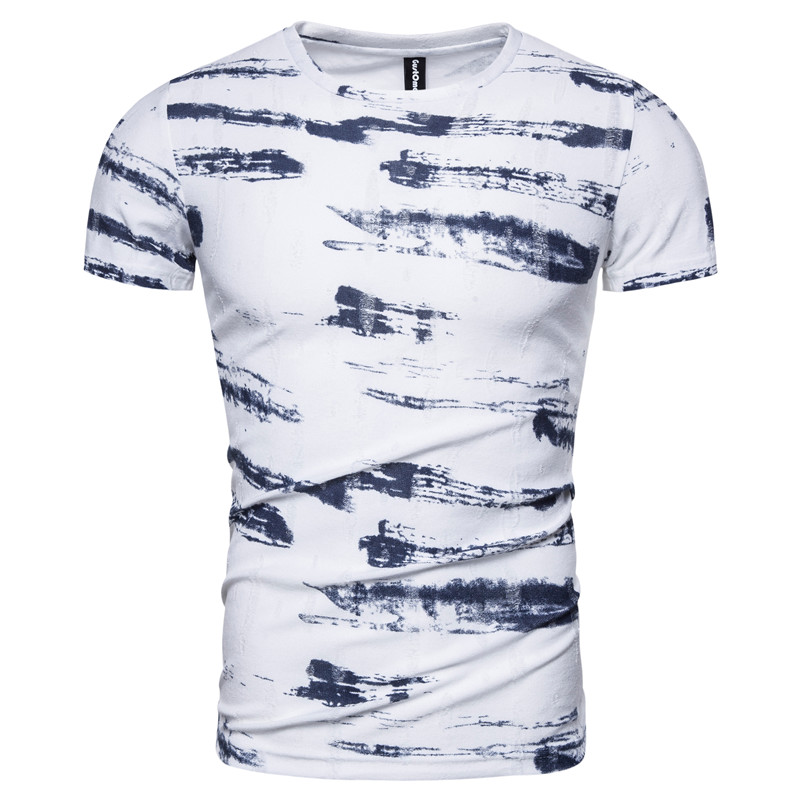 2020 New Spring Summer 100% Cotton Print T-shirt Men Casual Slim Fit Men T Shirt O-neck Fashion High-quality Design Tshirt Men