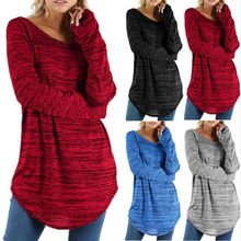 Women Plus Size Long Sleeve Pullover Loose Baggy Casual Tunic Top Jumper plus size flare sleeve handkerchief tunic top