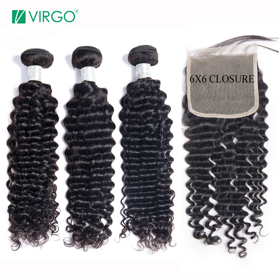 Deep Wave Bundles With Closure Brazilian Hair 3 Bundles with 6x6 Lace Closure Human Hair Bundles With Closure Volys Virgo Remy image