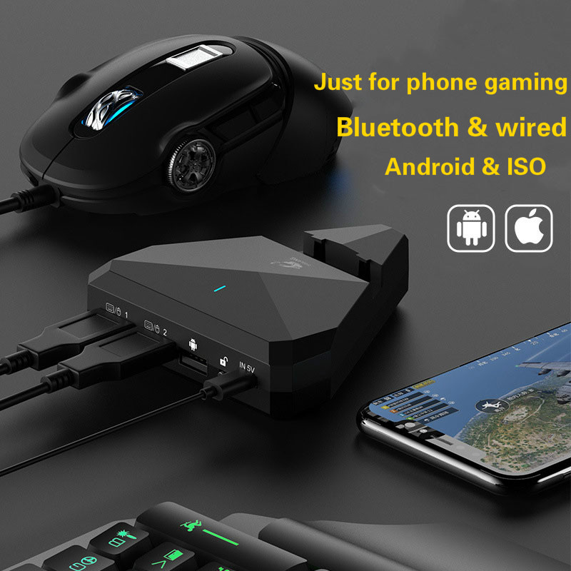Free Wolf G5 Mobile Gamepad Gaming Keyboard Mouse Converter For IPhone Ios Android Phone Bluetooth 4.1 Adapter Plug And Play