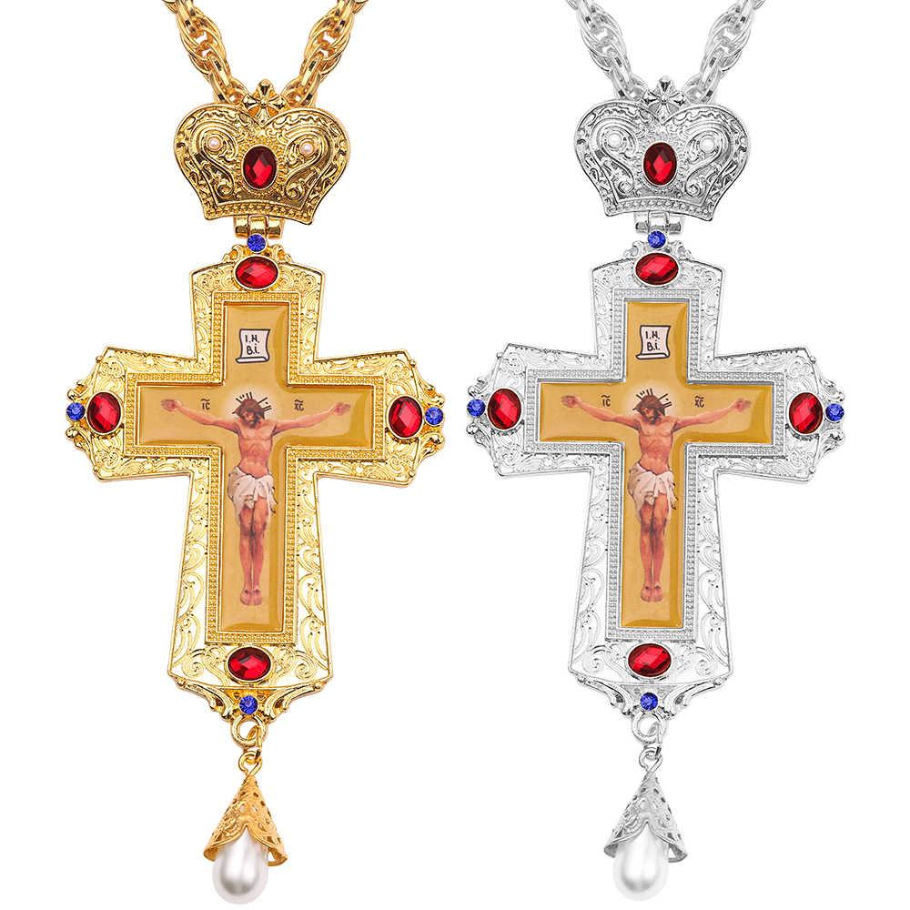 Wysokiej jakości krzyż chrześcijaństwo wisiorki krzyżowe krucyfiks jezus wisiorek i naszyjnik biżuteria chrześcijańska prezenty metalowe z kryształem