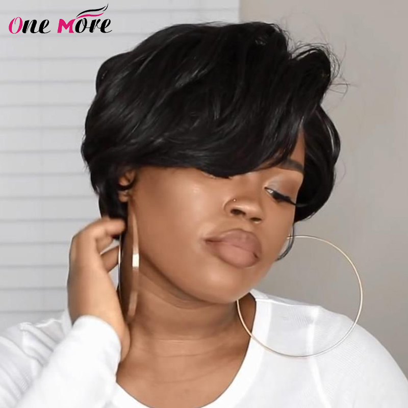 One More Pixie Cut Wig Short Bob Pixie Cut Human Hair Wigs Machine Made For Black Women Brazilian Remy Straight Human Hair Wigs