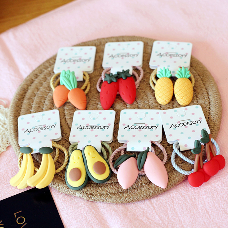 Cartoon Fruit Baby Headband Elastic Cute Kids Hair Rope Girls Baby Hair Rope Cherry Carrot Ponytail Scarf Hair Accessories