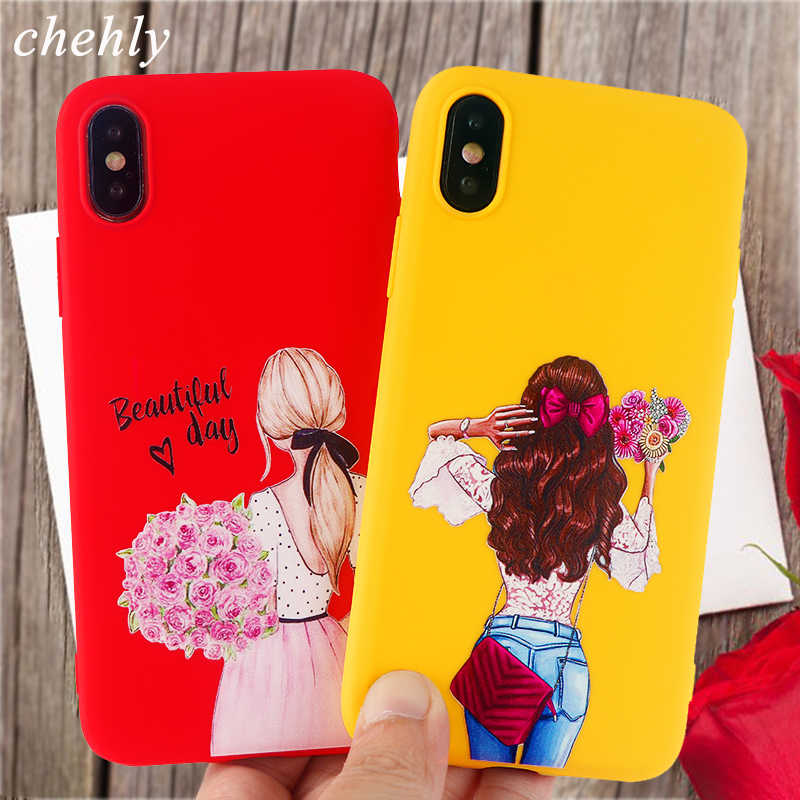 Trendy Girl Case For Iphone X Xr Xs Max 8 7 6 S Plus Fashion Cases Soft Silicone Protection Cell Phone Cases Accessories Covers Phone Case Covers Aliexpress