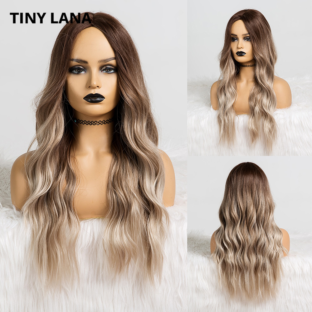 TINY LANA Women Wavy Synthetic Wigs Long Wigs Middle Part Ombre Brown Ash Natural Daily  Wigs Heat Resistant Fiber False Hair