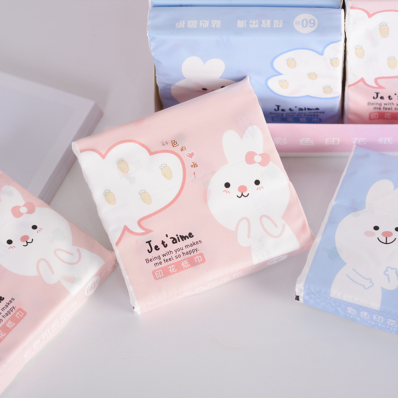 Rabbit Color Kleenex Printed Handkerchief Paper Portable Napkin Toilet Paper Small Soft Tissue Paper Mixed Batch